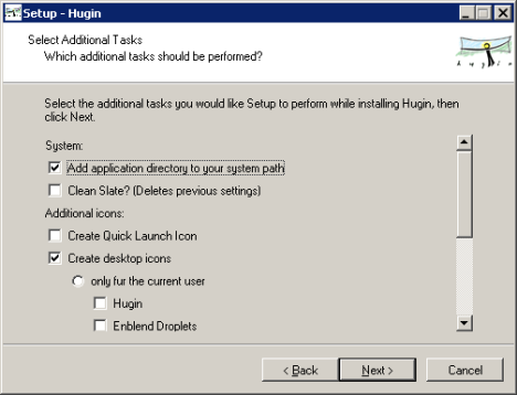 hugin windows installer 0.7 alpha options